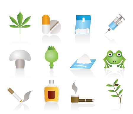 Different kind of drug icons - vector icon set Vector