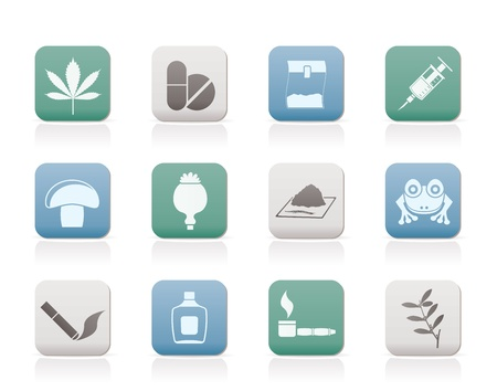 opium: Different kind of drug icons - vector icon set