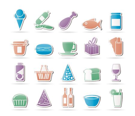 food industry: Shop and Foods Icons - Vector Icon Set Illustration