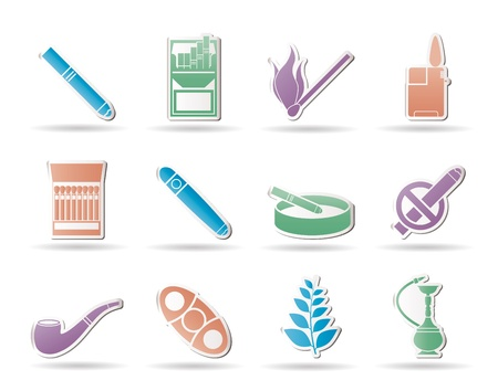 cigarette pack: Smoking and cigarette icons - vector icon set Illustration