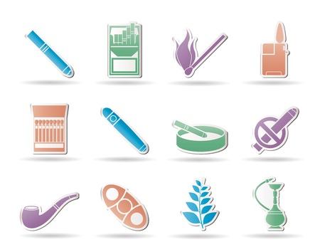 havana cigar: Smoking and cigarette icons - vector icon set Illustration