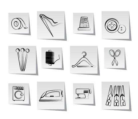machine a coudre: Objets textiles et les ic�nes de l'industrie - jeu d'ic�nes vectorielles
