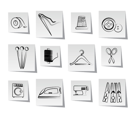 laundry hanger: Textile objects and industry  icons - vector icon set Illustration