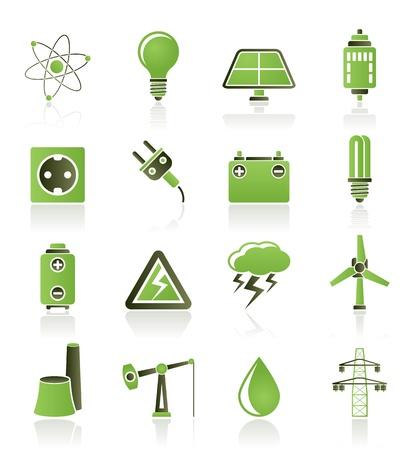 elektriciteit: Macht en elektriciteit industrie pictogrammen - vector icon set Stock Illustratie