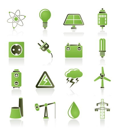 generators: Power and electricity industry icons - vector icon set Illustration