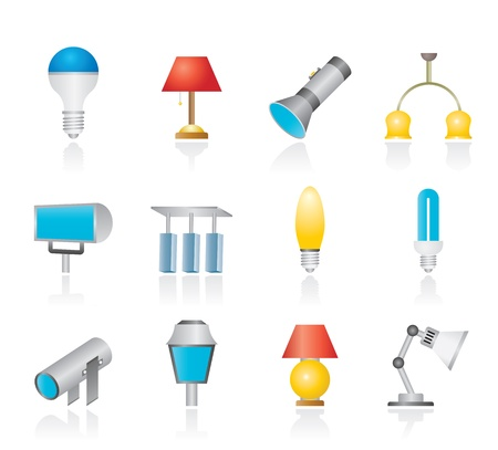 different kind of lighting equipment - vector icon set Vector