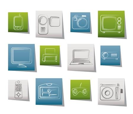 Hi-tech technical equipment icons - vector icon set Stock Vector - 9765299