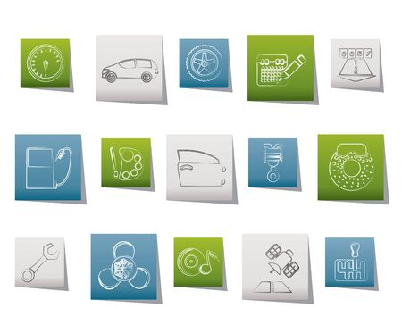 mileage: car parts, services and characteristics icons - vector icon set