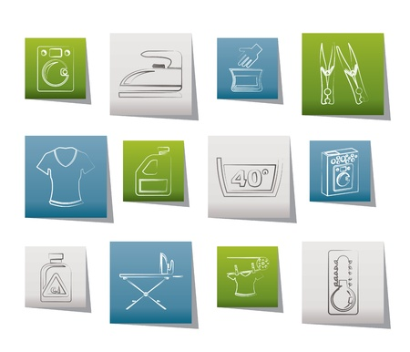 chores: Wasmachine en iconen - vector illustratie