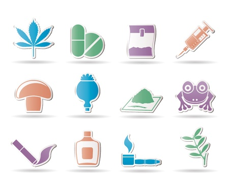 crack pipe: Different kind of drug icons - vector icon set
