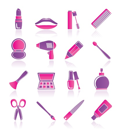 make up brush: cosmetici, make-up e icone parrucchieri - vector icon set