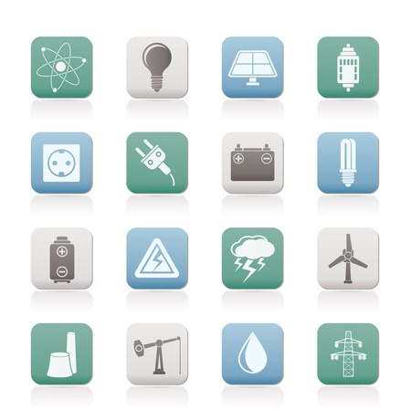 solar power station: Power and electricity industry icons - vector icon set Illustration