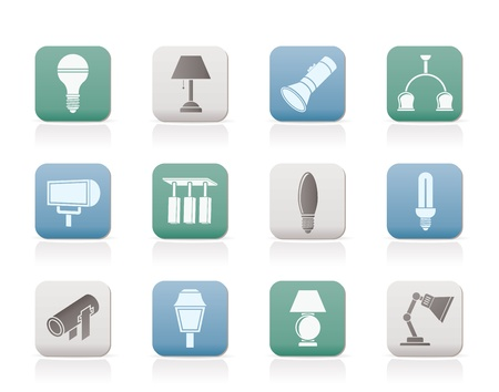 equipamento: different kind of lighting equipment - vector icon set