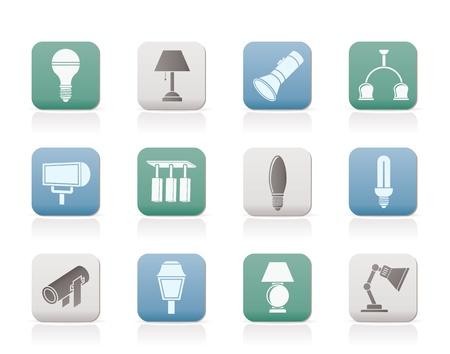 inny rodzaj sprzÄ™tu oÅ›wietleniowego - zestaw ikon wektorowych Ilustracje wektorowe