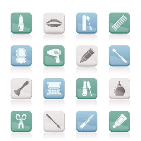 peigne et ciseaux: cosm�tique, maquillage et coiffure ic�nes - jeu d'ic�nes vecteur
