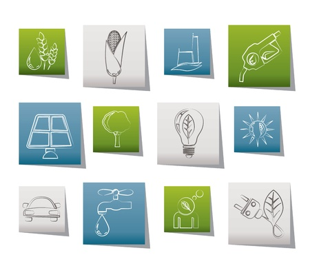 think green: Ecology, environment and nature icons - vector illustration Illustration