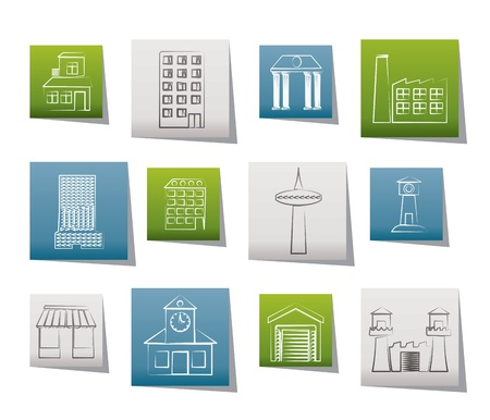 historical sites: different kind of building and City icons - vector icon set