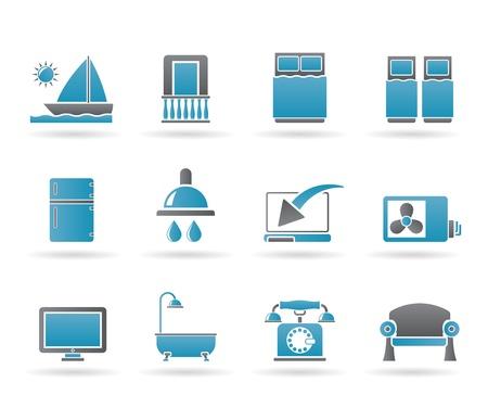 Hotel en motel kamer faciliteiten pictogrammen - vector icon set