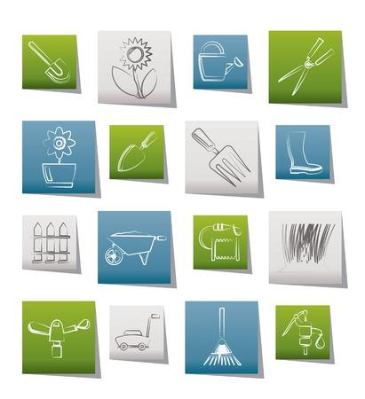 regando el jardin: Jard�n y jardines herramientas y objetos iconos - conjunto de iconos vectoriales