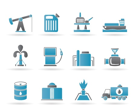 Oil and petrol industry icons - vector icon set Vector Illustration