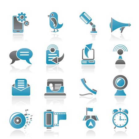 video chat: Mobile Phone and communication icons - vector icon set