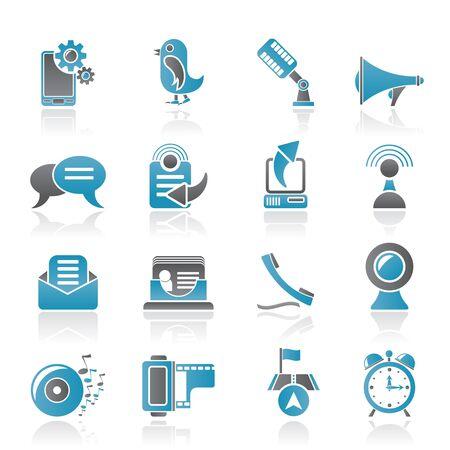 Teléfono móvil e iconos de la comunicación - conjunto de iconos vectoriales Ilustración de vector