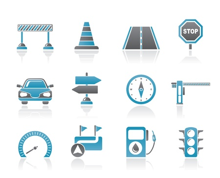 Road, navigation and traffic  icons - vector icon set Stock Vector - 9905168