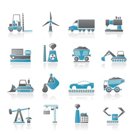 экскаватор: Бизнес и промышленность иконы - вектор икона набор