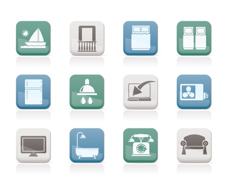 hotel balcony: Hotel and motel room facilities icons - vector icon set Illustration