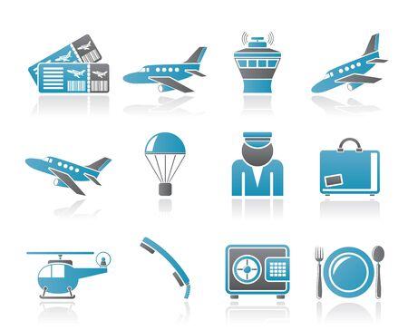 spadochron: Lotnisko i podróży ikon - zestaw ikon wektorowych Ilustracja