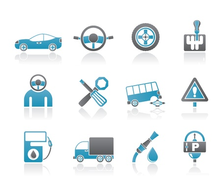cars parking: car services and transportation icons - vector icon set Illustration