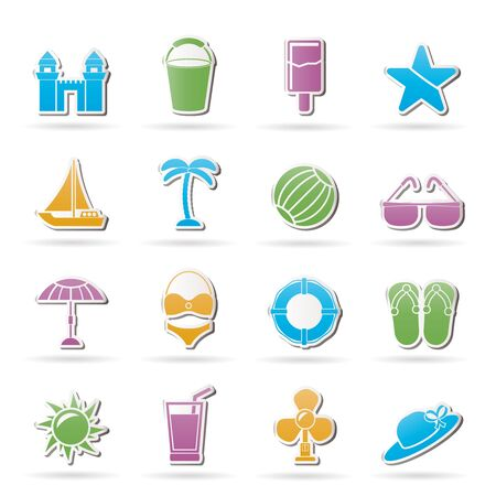 Beach, sea and holiday icons - vector icon set Vector