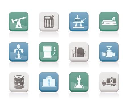 refiner�a de petr�leo: Iconos industria de petr�leo y gasolina - conjunto de iconos vectoriales Vectores