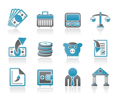money box: Bank, business and finance icons - vector icon set Illustration
