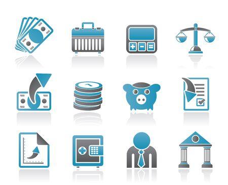 rekenmachine: Bank, het bedrijfsleven en Financiën pictogrammen - vector icon set Stock Illustratie