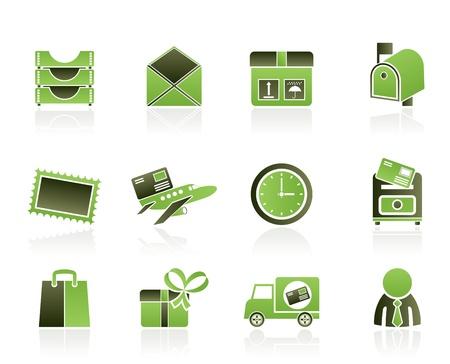 correspondencia: Correos, correspondencia y iconos de Office - conjunto de iconos de vector