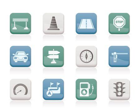 道路、ナビゲーション、トラフィックのアイコン - ベクトル アイコンを設定  イラスト・ベクター素材