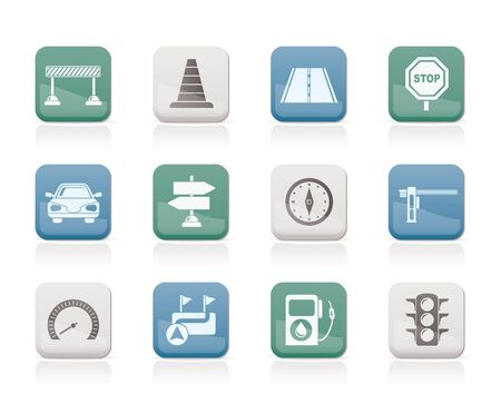 road barrier: Road, navigation and traffic  icons - vector icon set