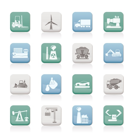 mining icons: Business and industry icons - vector icon set