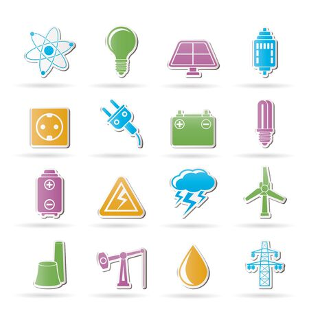 nuclear power station: Power and electricity industry icons - vector icon set Illustration