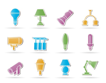 different kind of lighting equipment - vector icon set Stock Vector - 9905178