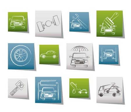 cerchione: icone ed il servizio di trasporto auto - vector icon set