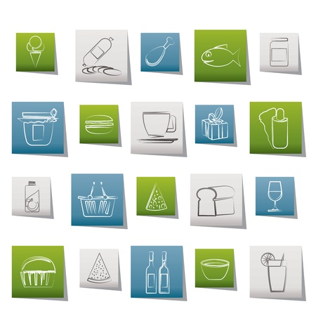 soft drink: Shop and Foods Icons - Vector Icon Set Illustration