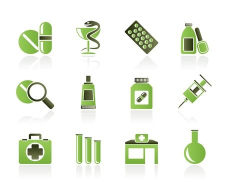 의학: 약국 및 의료 아이콘 - 벡터 아이콘 세트 일러스트