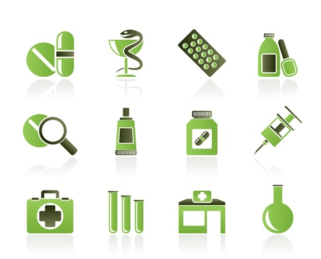 injectie: Apotheek en medische pictogrammen - vector icon set Stock Illustratie