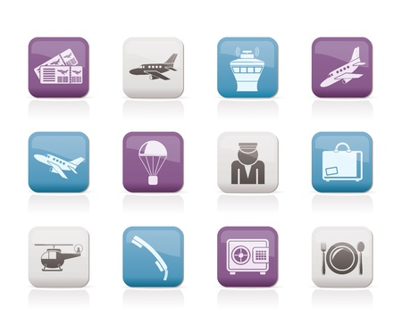 travel phone: Airport and travel icons - vector icon set