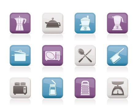 food processor: kitchen and household equipment icon - vector icon set Illustration