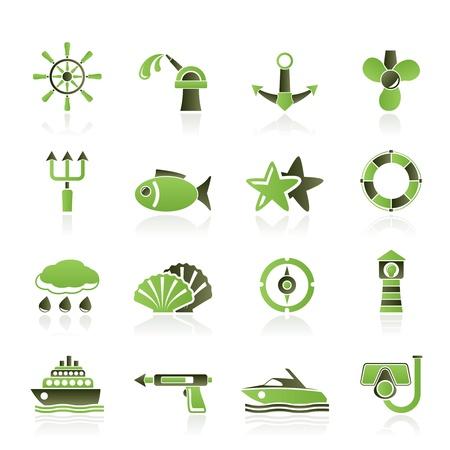 海洋および海のアイコン - ベクトル アイコンを設定  イラスト・ベクター素材