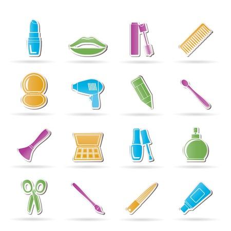 cosmetica, make-up en kappers iconen - vector icon set