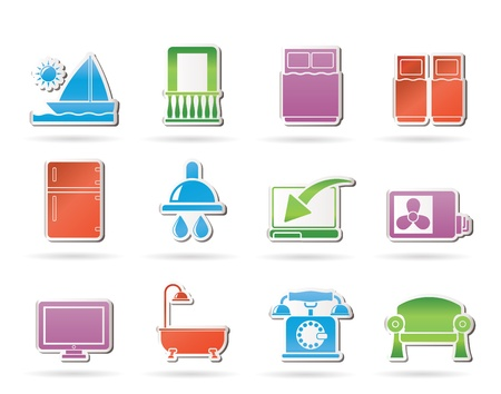 balcony: Hotel and motel room facilities icons - vector icon set Illustration
